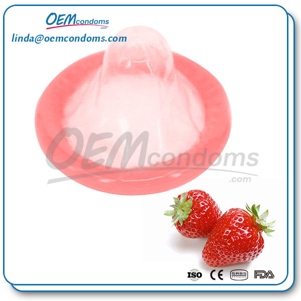 strawberry flavored condom, flavored condom suppliers, custom flavored condom
